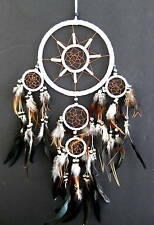 "WHITE Dream Catcher Dreamcatcher With Feathers & Bone Beads - 28""Long - OMA"