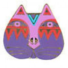 Retired Laurel Burch Button - Cat Face Pink/Purple - 28mm