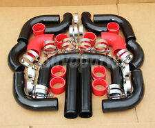 12PCS TURBO INTERCOOLER BLACK PIPING + RED COUPLERS KIT CRX DEL SOL D16 B16 B18