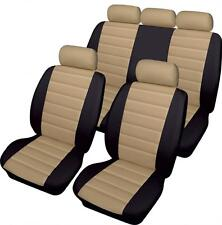 BEIGE/BLACK CAR SEAT COVER SET LEATHER LOOK  FRONT & REAR for PEUGEOT 407 04 on