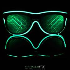 DOUBLE Diffraction Light Up Party Rave Glasses great w LED Gloves Orbits Green