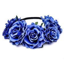 Women Girls Rose Flower Garland Hair Band Party Wedding Festival Beach Headband