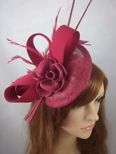Rose Wine Pink Satin Bow Sinamay Disc Fascinator - Occasion Wedding Races Hat