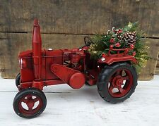 RED TRACTOR Folk Art Rustic Farm Christmas John Deere Vintage Style Metal Toy