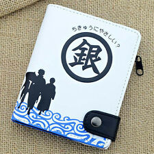 Anime Gintama Silver Soul Cosplay Gintoki Gin Button Wallet Purse