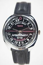 Mechanical watch RAKETA Attack of Century. 24-HOUR. New. Black dial. Case 39mm