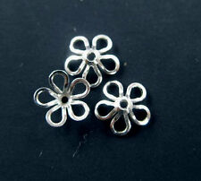 925 Sterling Silver 20 Flower Bead Caps 8 mm.