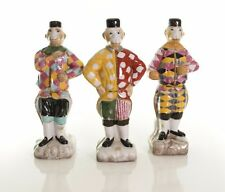 Cute Set of 3 Decorative Chinese Porcelain Monkey Jester Hat Figurine 10.5""