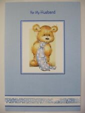 LOVELY Cute Teddy Bear in una cravatta per mio marito COMPLEANNO greeting card