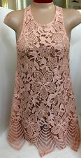 For Love Of Lemons Dress Peach Lace Sleeveless  Size Xs