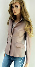 MARCCAIN Women's Leather Jacket Lamb Nappa N1 32 34 XXS XS Stretch inserts Taupe