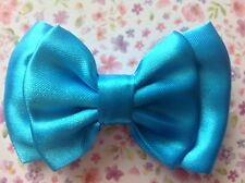 "SMALL HANDMADE BRIGHT SATIN 3"" FABRIC BOW HAIR CLIP CUTE VINTAGE RETRO GLAMOUR"