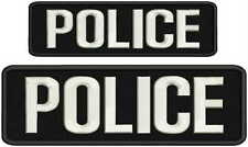 "POLICE embroidery patches  3x9 and 2x7"" hook letters white"
