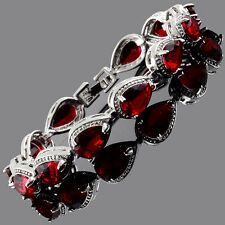 Fashion CZ Pear Cut Red Ruby White Gold Plated Tennis Bracelet