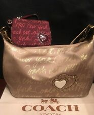 Coach Gold New York Script Lurex Metallic Bag 17472+ Burgundy Wristlet Wallet