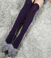 Fashion Bright Women Knit Over Knee Thigh Stockings Tights High Socks