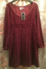 Juicy Couture Terry Cloth Dress Textured Cranberry Red NOS NWT SZ M New