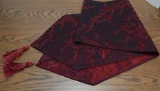 "Red & Black Tree Branches Diamond Stitch 13"" X 82"" Table Runner"