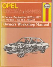 OPEL MANTA B COUPE 1.6 & 1.9 ( 1975 - 1977 ) OWNERS WORKSHOP MANUAL