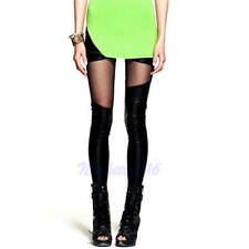 Women Slim Asymmetric Sheer Mesh Panel Black Stretch Leggings Pants