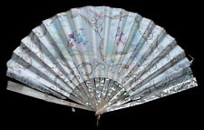 Antique Handpainted Silk & Mother of Pearl Fan abanico Fächer eventail ca. 1910