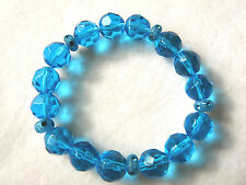 Turquoise & Light Blue Faceted Glass Crystal Bead Bracelet - Handmade - BN