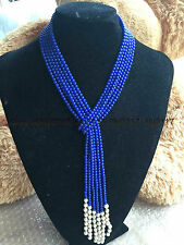 """AAA Charming 4mm blue lazuli bead & White Pearl Necklace 50"""""""