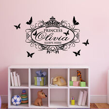 Princess Sleep Here Custom Name Bedroom Wall Decoration Decal Vinyl Wall Sticker