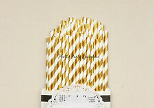 25 Gold Foil Striped Straws/Great Gatsby Decor/50th Birthday/Birthday Decoration