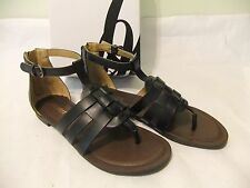 NINE WEST Fairlady Black Gladiator Sandal Thong Size 7 NIB $70