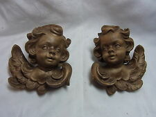 Pair Vintage German Pressed Wood Cherub Angel Wall Ornament #BY