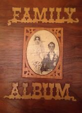WOODEN book cover FAMILY ALBUM vintage FOLK ART photo WEDDING PICTURES steampunk