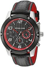 Michael Kors Original MK8475 Men's Caine Black Leather Chrono Watch 45mm