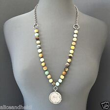 Antique Silver Jasper Stone Beaded Chain Inspired Spanish Metal Pendant Necklace
