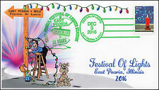 16-383, 2016, Festival of Lights, East Peoria IL, Pictorial Cancel, Green Cancel