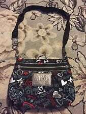 COACH POPPY BLACK RED CANVAS POPPY GRAFFITI CROSSBODY MESSENGER SWINGPACK PURSE