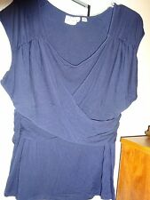 LINEA BY LOUIS DELL'OLIO Navy Blue Top Blouse Plus Size 1X Criss Cross Front