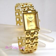 Swiss OMAX Designer Waterproof Seiko Movt Gold PL Square Gents Mens Watch HBK837