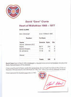 DAVID CLUNIE HEART OF MIDLOTHIAN 1966-1977 ORIGINAL HAND SIGNED CUTTING/CARD