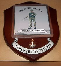 The Green Howards wall Plaque with name rank & number.