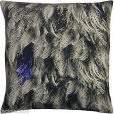 """SUPERB FEATHERS 100% COTTON  BLACK GREY LARGE CUSHION COVER 22"""""""