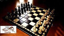 STUNNING ''PEARL'' 35x35 WOODEN CHESS SET WITH BURNT ORNAMENTS