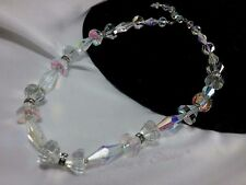 Vintage Vendome Silver Glass Bow Tie Rhinestone Multi Faceted Toggle Necklace