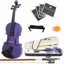 Mendini Size 1/4 MV-Purple Solidwood Violin +ShoulderRest+Extra Bridge+Case