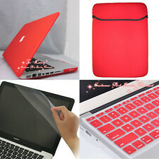"4in1 Red Rubberized Hard Case+KB Cover + Soft Bag for Macbook Pro 13"" A1278"