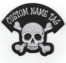Custom Embroidered Skull name Tag Motorcycle BIKER Badge