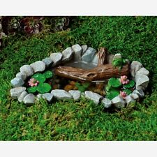 Miniature Frogs in Lily Pad Pond/ Fairy Gnome Hobbit Garden Dollhouse  17272