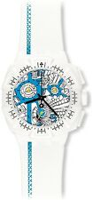 New Swatch Street Map Azure Chronograph White Band Date Watch 45mm SUIW412 $115