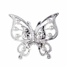 Large Silver Plated Butterfly Brooch  Synthetic Pearl Crystal Wedding Bridal