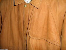 MARLBORO Vintage Brown Soft Leather Winter Warm Heavy Coat BOMBER Jacket Men's M